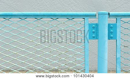 Blue metal chainlink fence