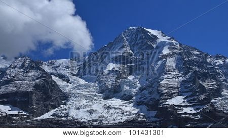 Monch, High Mountain In The Swiss Alps