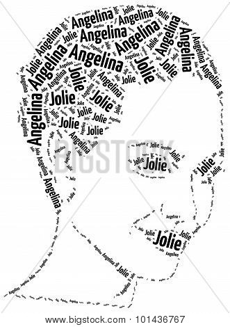 A Word Cloud Portrait Illustration Of Angelina Jolie.