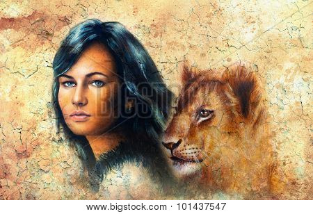 Young woman portrait, with long dark hair and blue eye and lion cub, eye contact,  color painting wi