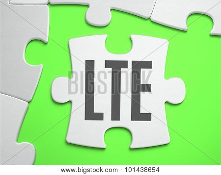 LTE - Long Term Evolution - Jigsaw Puzzle with Missing Pieces. Bright Green Background. Close-up. 3d Illustration. poster