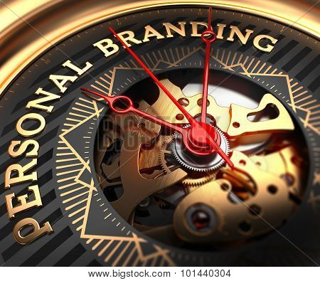Personal Branding on Black-Golden Watch Face.