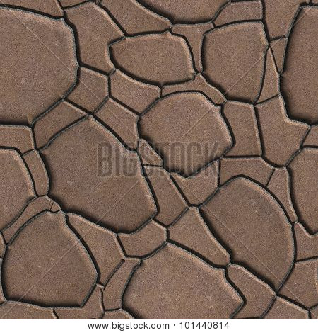 Brown Figured Paving Slabs which Imitates Natural Stone. Seamless Tileable Texture. poster