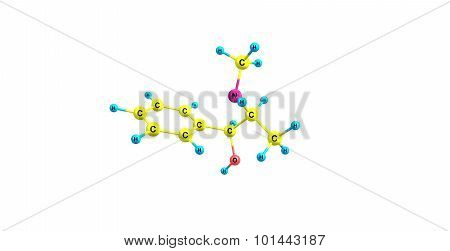 Pseudoephedrine molecular structure isolated on white