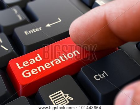 Finger Presses Red Keyboard Button Lead Generation.