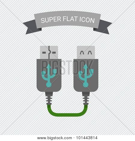 Icon of USB extender, isolated on striped background poster
