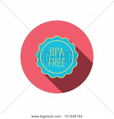 BPA free icon. Bisphenol plastic sign. Red flat circle button. Linear icon with shadow. Vector poster