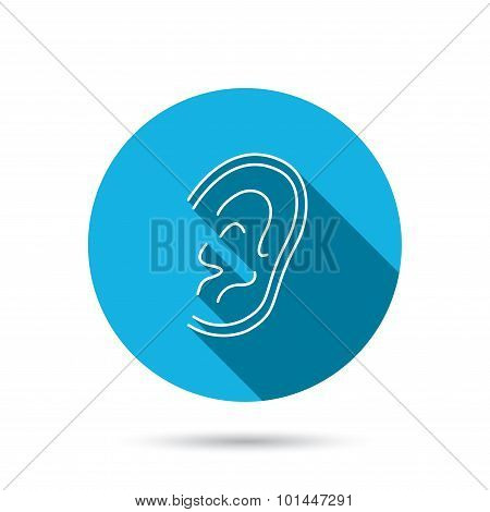 Ear icon. Hear or listen sign. Deaf human symbol. Blue flat circle button with shadow. Vector poster