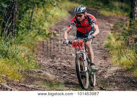 mountainbiker in a downhill mountain