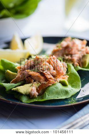 Salmon Lettuce Cup