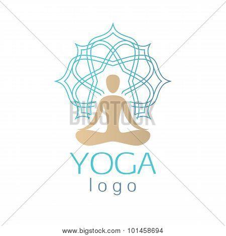 Beautiful abstract human figure with ornamental aura logo sign.