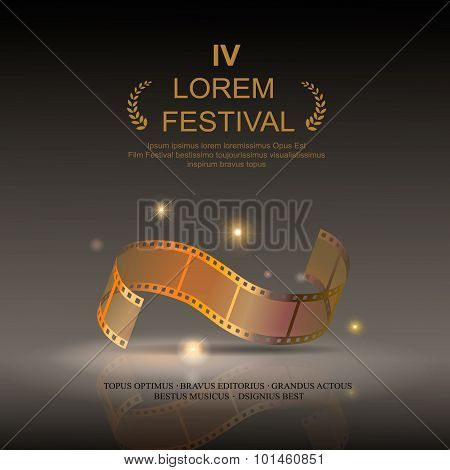 Camera film 35 mm roll gold ,  festival movie poster, Slide film frame, vector illustration