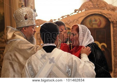 Orel, Russia - September 13, 2015: Orthodox Church Family Day. Metropolitan Antony In Uniform Making