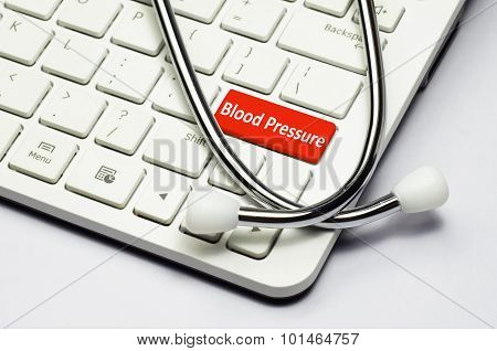 Keyboard, Blood Pressure Text And Stethoscope