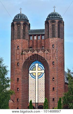 Kreuzkirche - Orthodox Church in Kaliningrad (until 1946 Koenigsberg). Russia poster