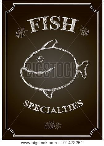 Blackboard fish restaurant menu card