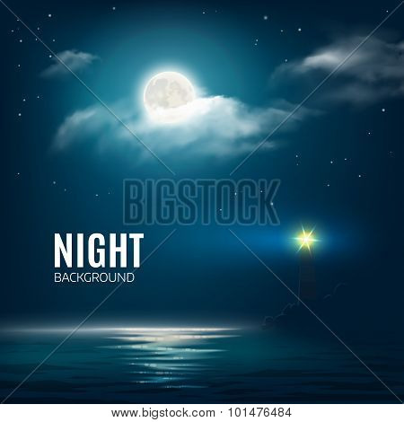 Night Nature Cloudy Sky With Stars, Moon And Calm Sea With Lighthouse. Vector Illustration