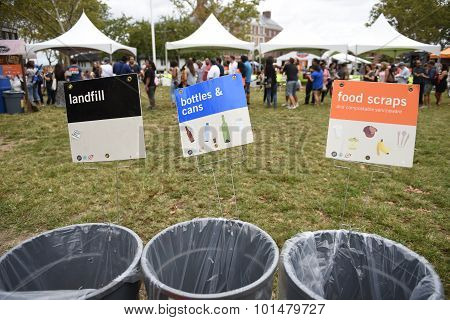 Trash labeled for recycling