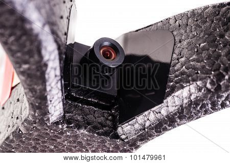 close up shot of a drone's on board spy micro camera poster