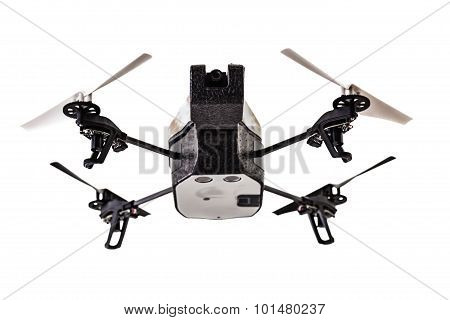 a quad copter spy drone isolated over a white background poster