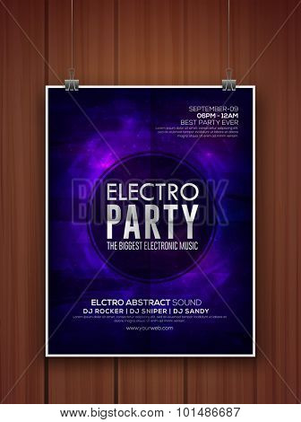 Stylish shiny purple flyer, banner or template for Electro Party celebration hanging on wooden background.