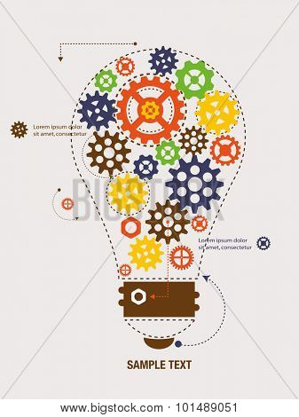 Cogs and gears inside the bulb. Vector Illustration.