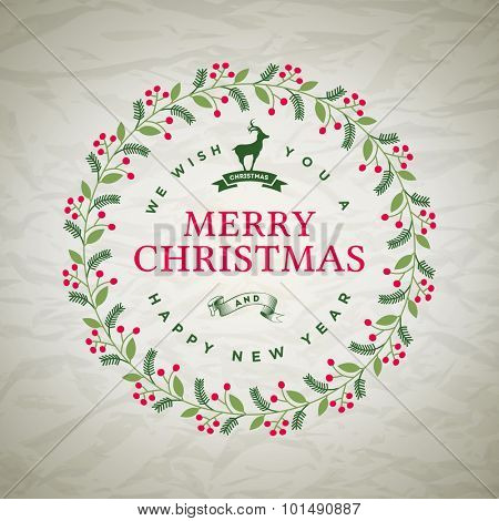Vector Christmas wreath greetings. Elements are layered separately in vector file.