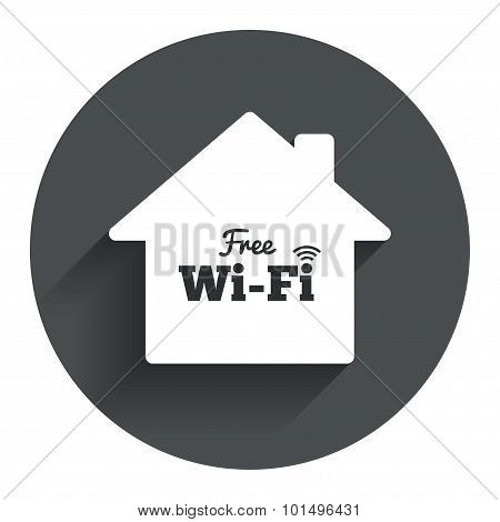 Home wifi sign. Wifi symbol. Wireless Network icon. Wifi zone. Circle flat button with shadow. Modern UI website navigation. Vector poster