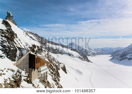 Jungfraujoch, Part of Swiss Alps Alpine Snow Mountain Landscape at Switzerland