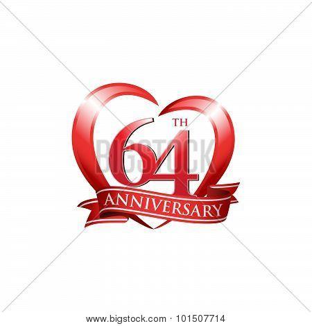 64th anniversary logo red heart ribbon