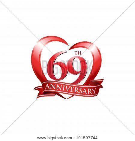 69th anniversary logo red heart ribbon