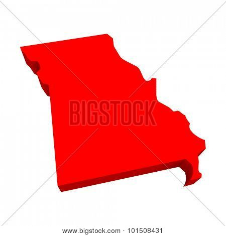 Missouri MO Red USA 3d State Map