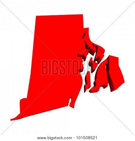 Rhode Island RI Red USA 3d State Map
