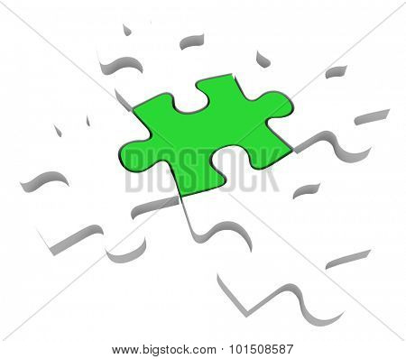One unique green puzzle piece among 5 pieces to illustrate being different, unique, special and uncommon part of a solution to a problem