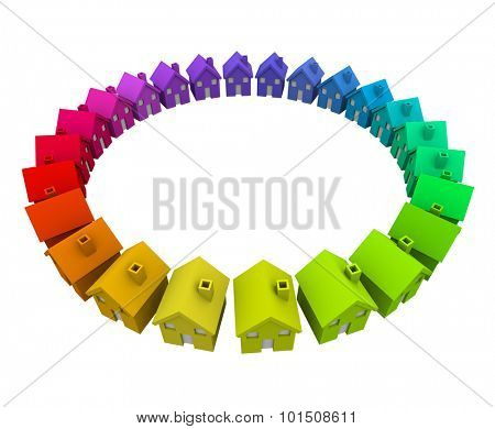 Colorful homes or houses in a ring or circle as a neighborhood, community or society in action
