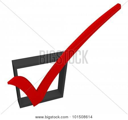 Red 3d check mark in a black box to illustrate approval or acceptance, a good feedback rating or response in a survey