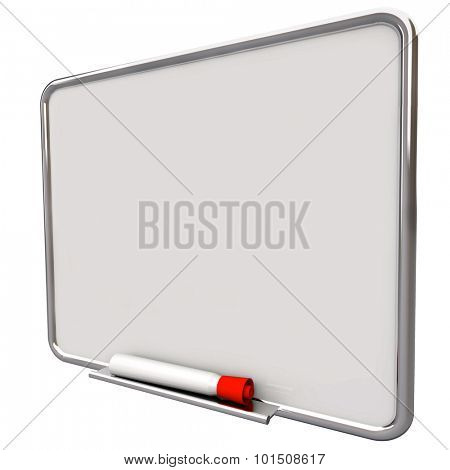Dry erase board on angle for writing messages with red pen or marker, communication of a to do list