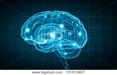 Concept of human intelligence with human brain on blue background