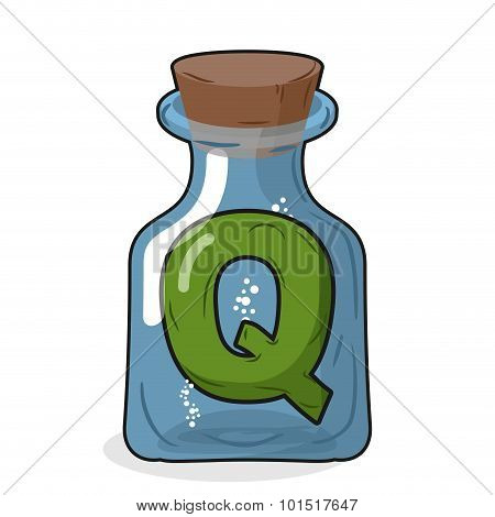 Q laboratory bottle. Letter in magical vessel with a wooden stopper. Letter Q for scientific experiments. Vector illustration of a laboratory flask vessel poster