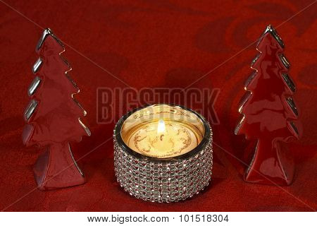 Christmas Table Decoration with Decoration Christmas Trees, Candle Holder and Tea Candle