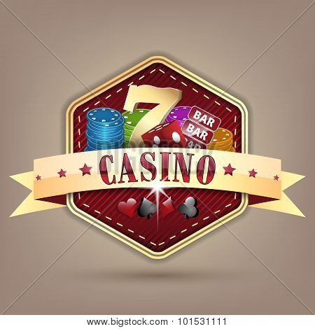 Casino vector illustration with golden ribbon, chips, dice, card and lucky seven symbol.
