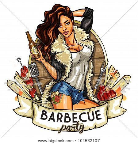 barbecue label with pretty woman