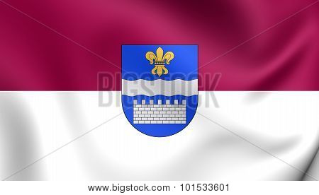 3D Flag of Daugavpils City Latvia. Close Up. poster