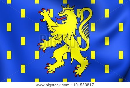 3D Flag of Franche-Comte Region France. Close Up. poster