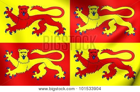 3D Flag of Gwynedd Wales. Close Up. poster