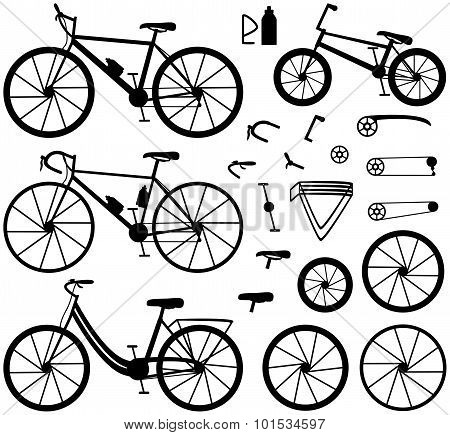 Four kinds of bicycles: mountain (or cross-country) bike, road bike, city bike and bmx bike. Bike a