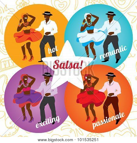 Salsa party or dance school poster with dancing cuban couple in different colors.