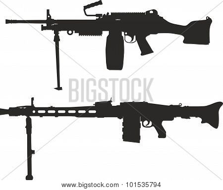 A set of silhouettes of machine gun.
