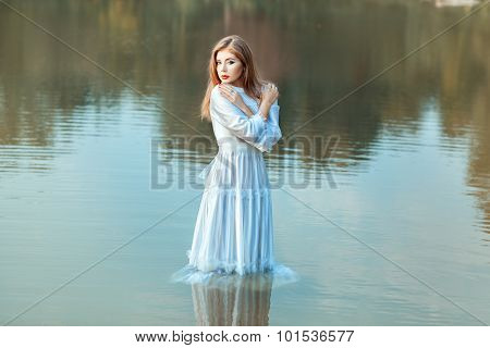 Girl Soaked Clothes In The Lake Water.