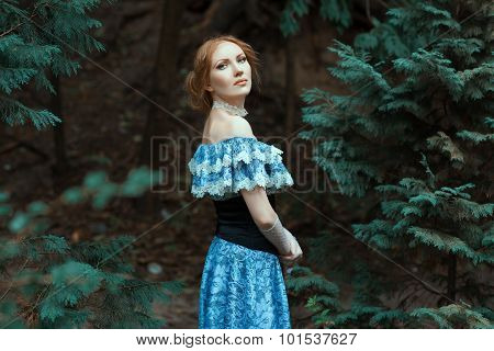 Girl Dressed In An Old-fashioned Blue Dress.